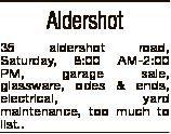 Aldershot 35 aldershot road, Saturday, 8:00 AM-2:00 PM, garage sale, glassware, odes & ends, ele...