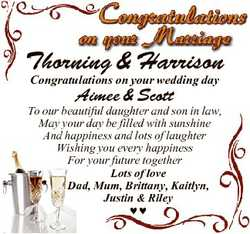 Thorning & Harrison Congratulations on your wedding day Aimee & Scott To our beautiful daugh...