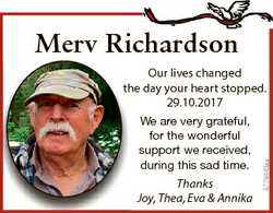 Merv Richardson Thanks Joy, Thea, Eva & Annika 6778443aa Our lives changed th he day your heart...