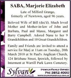 SABA, Marjorie Elizabeth Late of Milford Grange, formerly of Newtown, aged 96 years. Beloved Wife of...