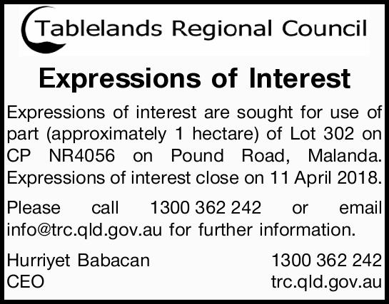Expressions of interest are sought for use of part (approximately 1 hectare) of Lot 302 on...