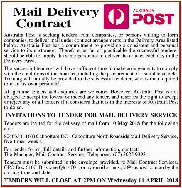 Australia Post is seeking tenders from companies, or persons willing to form companies, to...