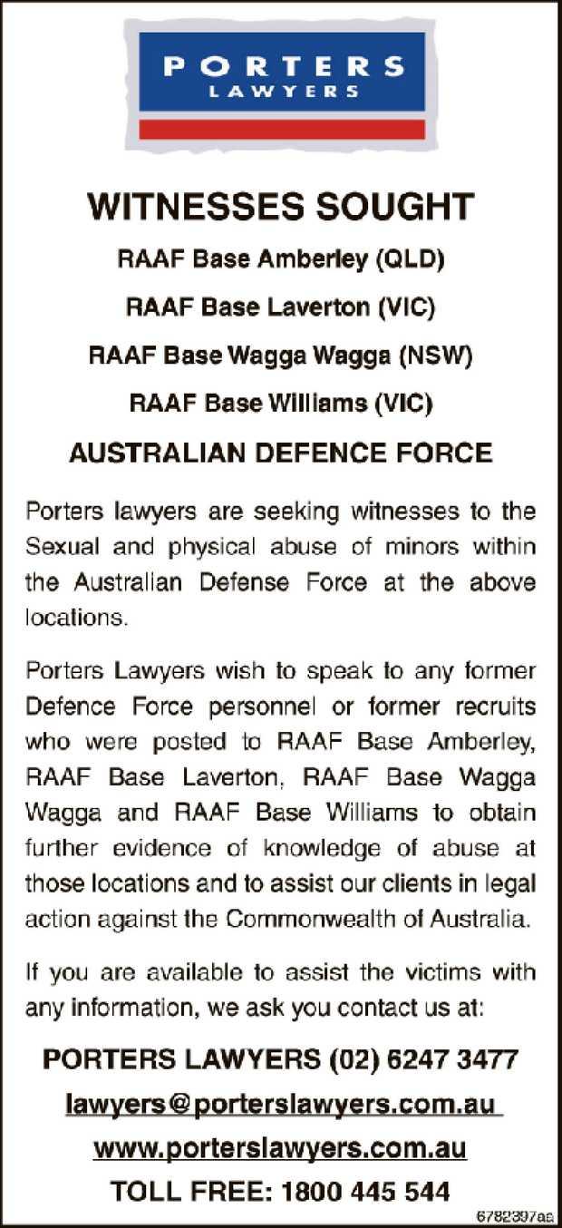 WITNESSES SOUGHT RAAF Base Amberley (QLD) RAAF Base Laverton (VIC) RAAF Base Wagga Wagga (NSW) RA...