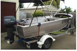 STACER, 4.3m, 30hp Yamaha, sounder, nav lights, carpet floor, canopy, spare trailer wheel, reg&rs...