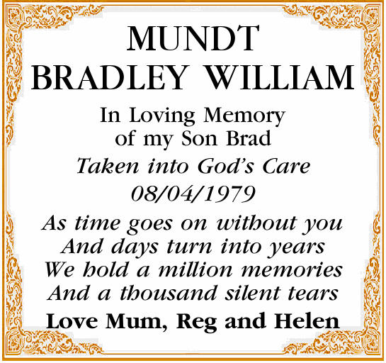MUNDT BRADLEY WILLIAM