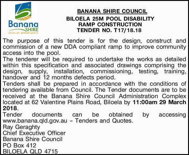 BANANA SHIRE COUNCIL   BILOELA 25M POOL DISABILITY   RAMP CONSTRUCTION TENDER NO. T17/18....