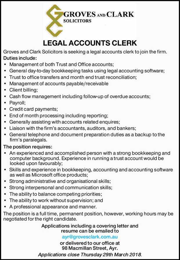 LEGAL ACCOUNTS CLERK Groves and Clark Solicitors is seeking a legal accounts clerk to join the fi...