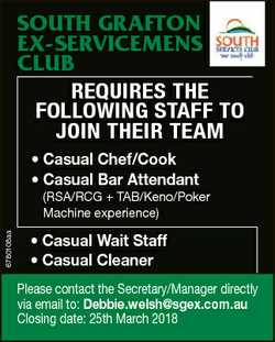 SOUTH GRAFTON EX-SERVICEMENS CLUB RequiRes the following staff to join theiR teaM * Casual Chef/Cook...