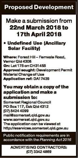 Proposed Development Make a submission from 22nd March 2018 to 17th April 2018 * Undefined Use (Anci...