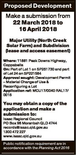 Proposed Development Make a submission from 22 March 2018 to 16 April 2018 Major Utility (North Cree...
