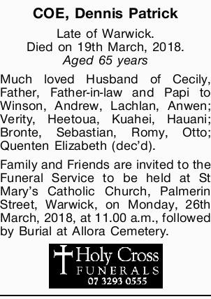 Late of Warwick.   Died on 19th March, 2018.   Aged 65 years   Much loved Husba...