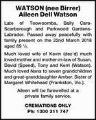 WATSON (nee Birrer) Aileen Dell Watson