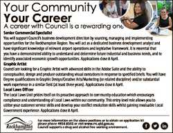 Your Community Your Career A career with Council is a rewarding one Senior Commercial Specialist You...