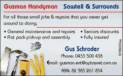 Gusman Handyman Sawtell & Surrounds For all those small jobs & repairs that you never get ar...