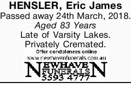 HENSLER, Eric James
