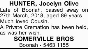 HUNTER, Jocelyn Olive