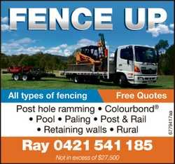 All types of fencing - Free Quotes Post hole ramming - Colourbond - Pool - Paling - Post & Ra...