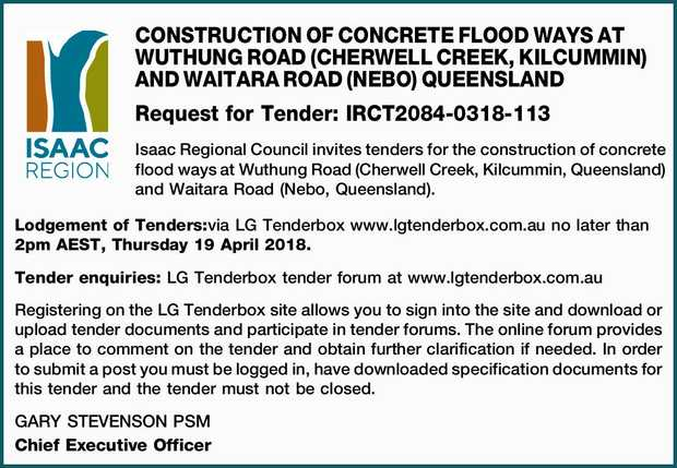 CONSTRUCTION OF CONCRETE FLOOD WAYS AT WUTHUNG ROAD (CHERWELL CREEK, KILCUMMIN) AND WAITARA ROAD...