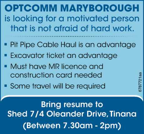 <p> <strong>Optcomm Maryborough is looking for a motivated person that is not afraid of hard...</strong></p>