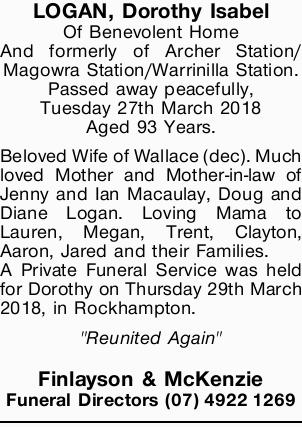 LOGAN, Dorothy Isabel
