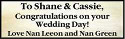 To Shane & Cassie,