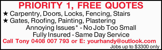 Carpentry, Doors, Locks, Fencing, Stairs Gates, Roofing, Painting, Plastering   Annoyin...