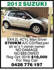 SX4 2L 4 CYLINDER MANUAL 6 SPEED POWER STEERING 5 DOOR HATCH SILVER in COLOUR with 8700KM
