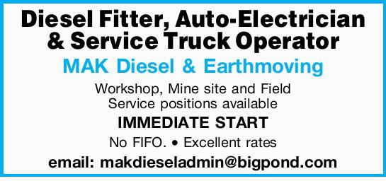 MAK Diesel & Earthmoving Workshops is hiring!   Mine site and Field service positio...