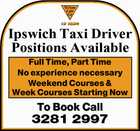 Ipswich Taxi Driver Positions Available