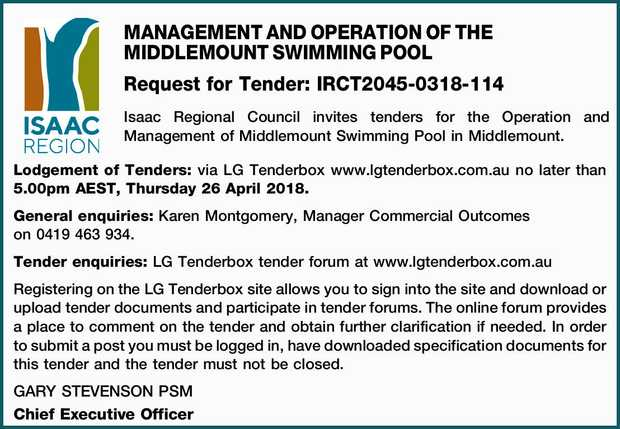 MANAGEMENT AND OPERATION OF THE MIDDLEMOUNT SWIMMING POOL Request for Tender: IRCT2045-0318-114 I...