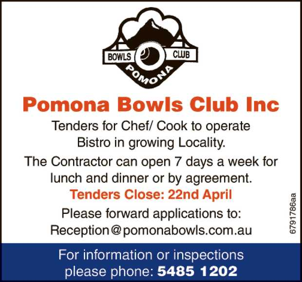 Tenders for Chef/ Cook to operate Bistro in growing Locallity.   The Contractor can open 7 da...