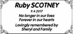 Ruby SCOTNEY  9.4.2017  No longer in our lives  Forever in our hearts  Lo...