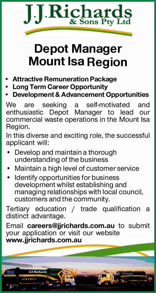 Depot Manager    Mount Isa Region   Attractive Remuneration Package   Long Te...
