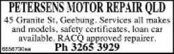 45 Granite St, Geebung.    Services all makes& models  Safety Certificates...