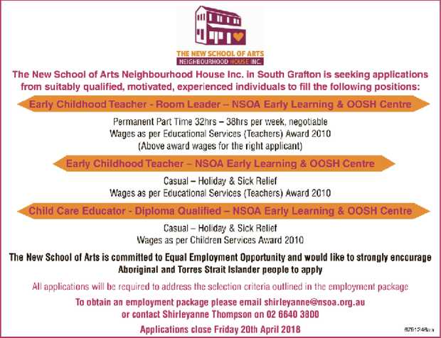 The New School of Arts Neighbourhood House Inc. in South Grafton is seeking applications from s...