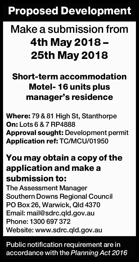Make a submission from 4th May 2018 – 25th May 2018   Short-term accommodation Motel- 1...