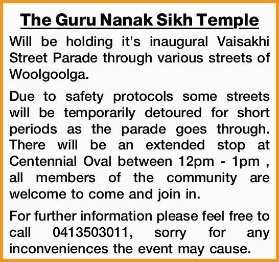 The Guru Nanak Sikh Temple   Will be holding it's inaugural Vaisakhi Street Parade thro...