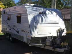 18ft. Dual axle. 6inch chassis with 15inch wheels. Q/bed. Full ensuite. W/machine. 184ltr fridge....
