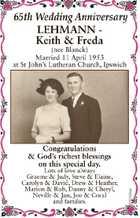 65th Wedding Anniversary LEHMANN