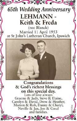 65th Wedding Anniversary LEHMANN - Keith & Freda (nee Blanck) Married 11 April 1953 at St Joh...