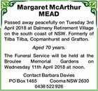 Margaret McArthur MEAD