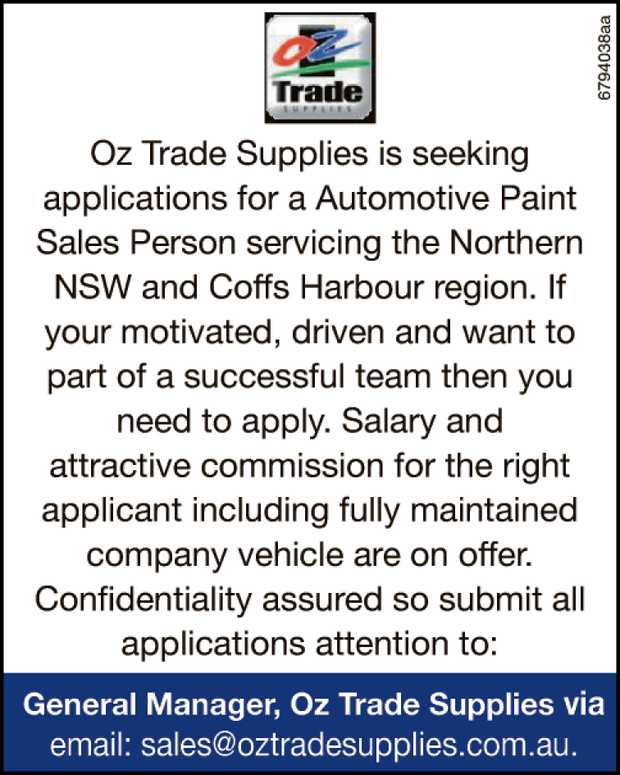 Oz Trade Supplies is seeking