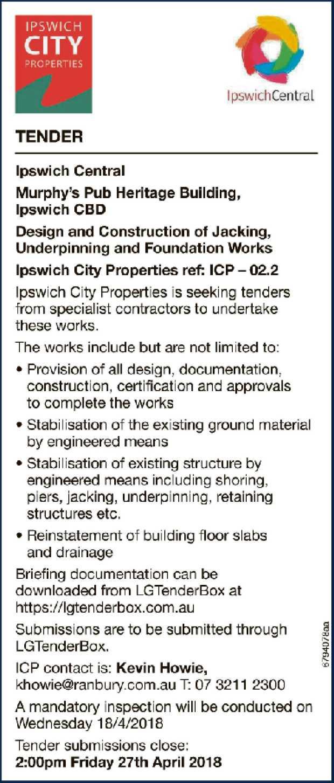 TENDER Central Ipswich Central Murphy's Pub Heritage Building, Ipswich CBD Design a...