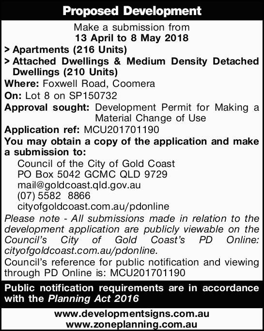 Proposed Development   Make a submission from 13 April to 8 May 2018   >Apartments (21...