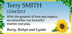 Terry SMITH  12/04/2013  With the greatest of love and respect, we remember our bea...