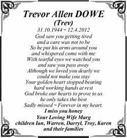 Trevor Allen DOWE  (Trev)  31.10.1944 ~ 12.4.2012  God saw you getting tired a...