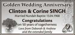 Golden Wedding Anniversary  Clinton & Corine SINGH  Married Nundah Baptist 13.0...