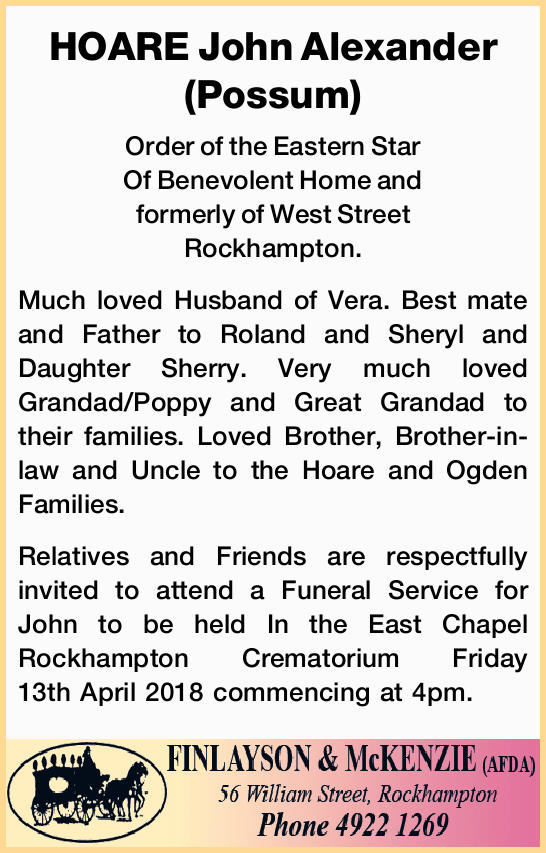 Order of the Eastern Star Of Benevolent Home and formerly of West Street Rockhampton.   ...