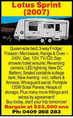 Queen-size bed; 3-way Fridge/Freezer; Microwave; Range & Oven 240V, Gas, 12V; TV/CD; Sep show...