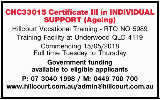 Hillcourt Vocational Training - RTO NO 5989   Training Facility at Underwood QLD 4119   C...